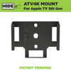 Steel Apple TV 4k wall mount made by HIDEit Mounts.