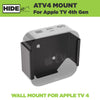 HIDEit ATV4 wall mount securely holds Apple TV generation 4 behind the TV.