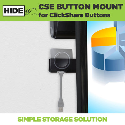 Greyed out ClickShare Dongle securely mounted in HIDEit Mounts steel ClickShare Dongle Holder.