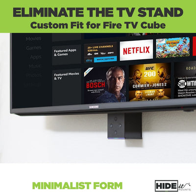 HIDEit mount for Alexa Fire TV Cube sleekly mounted behind TV for clutter free design.