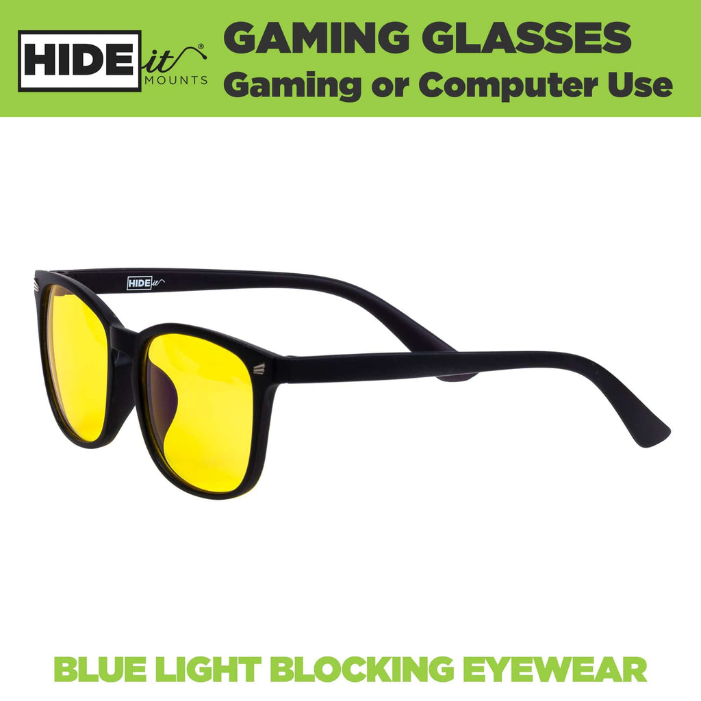 HIDEit Mounts gaming glasses with yellow lenses to block blue light.