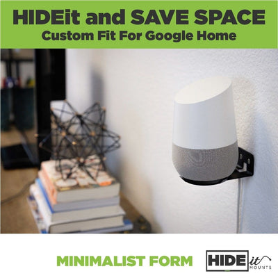 HIDEit Home Mount and Google Home mounted on the wall next to a desk.