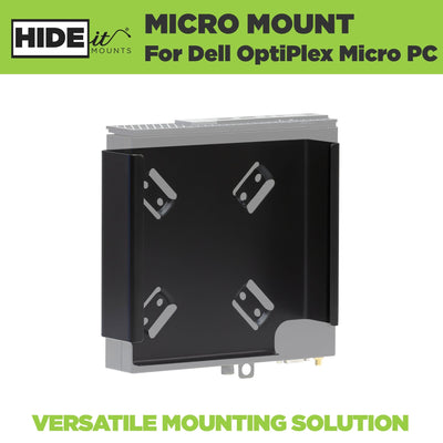 Dell Optiplex Micro securely mounted in the steel HIDEit Dell Optiplex Mount designed for the Dell Micro PC.
