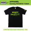 HIDEit Mounts limited edition graphic tee. Unisex black t-shirt with green detailing.