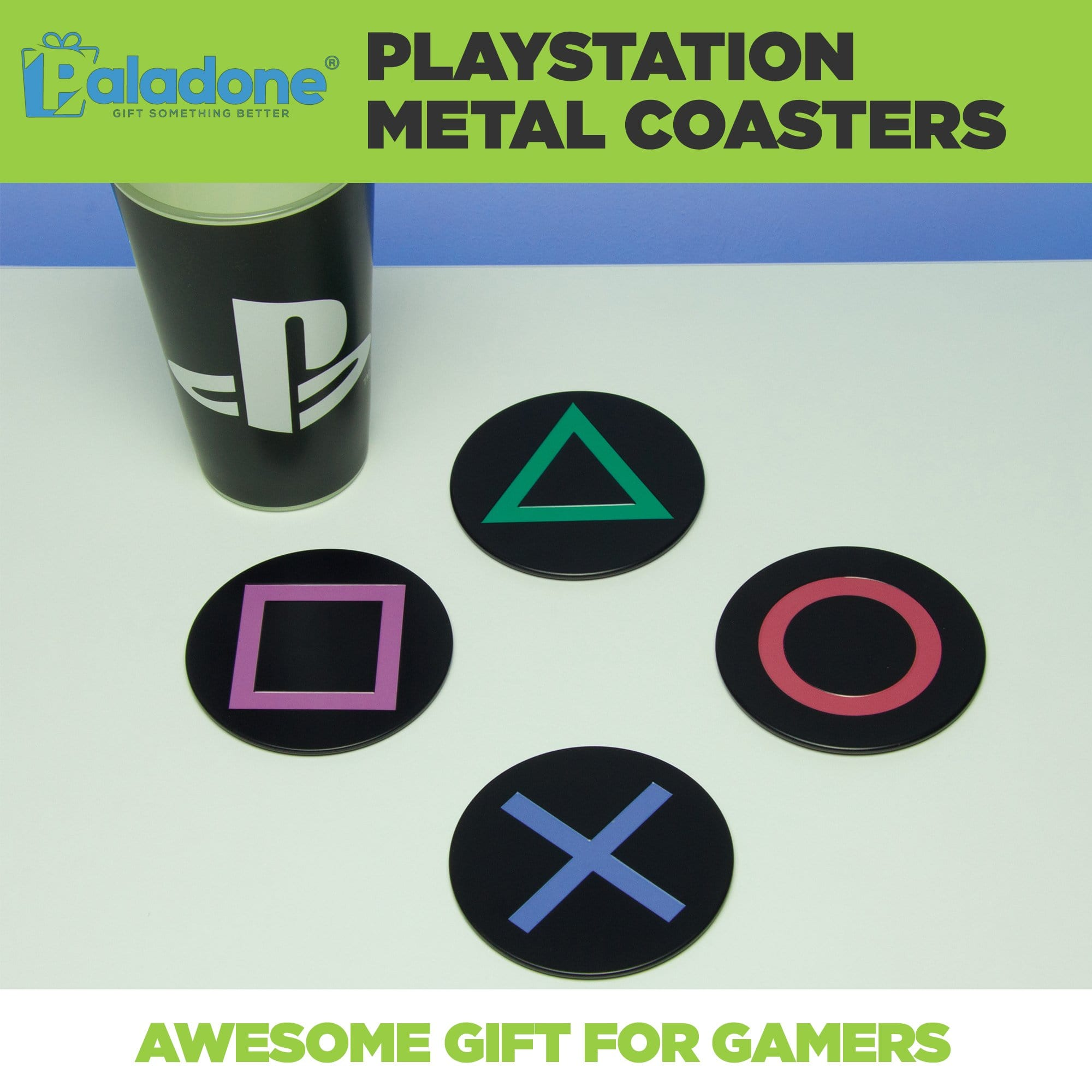 PlayStation coasters shown on a table with the classic PlayStation controller symbols and PlayStation cup.