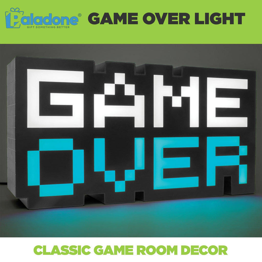 Classic 8-bit Game Over Light lit up blue. Classic game room decor.