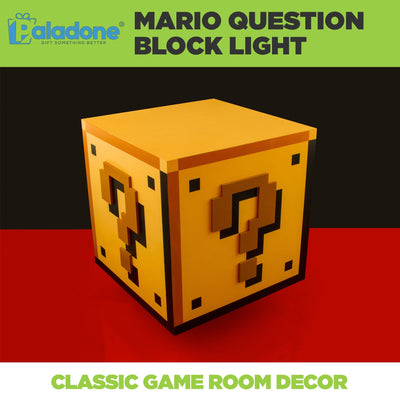 Paladone Super Mario lamp turned off. Classic game room decor for any gamer!