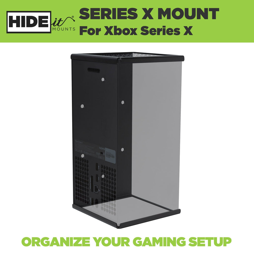 Xbox Series X console shown greyed out in a HIDEit Mount designed for the Xbox Series X.