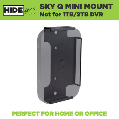Grayed out device shown in Sky Q Mini Wall Mount made by HIDEit Mounts to hide your cable box.
