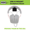 Steel HIDEit Uni-H Mount designed to wall mount headphones and headsets.