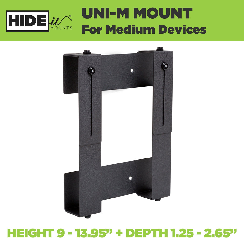 Steel adjustable wall mount for medium-sized electronic devices, made by HIDEit Mounts.
