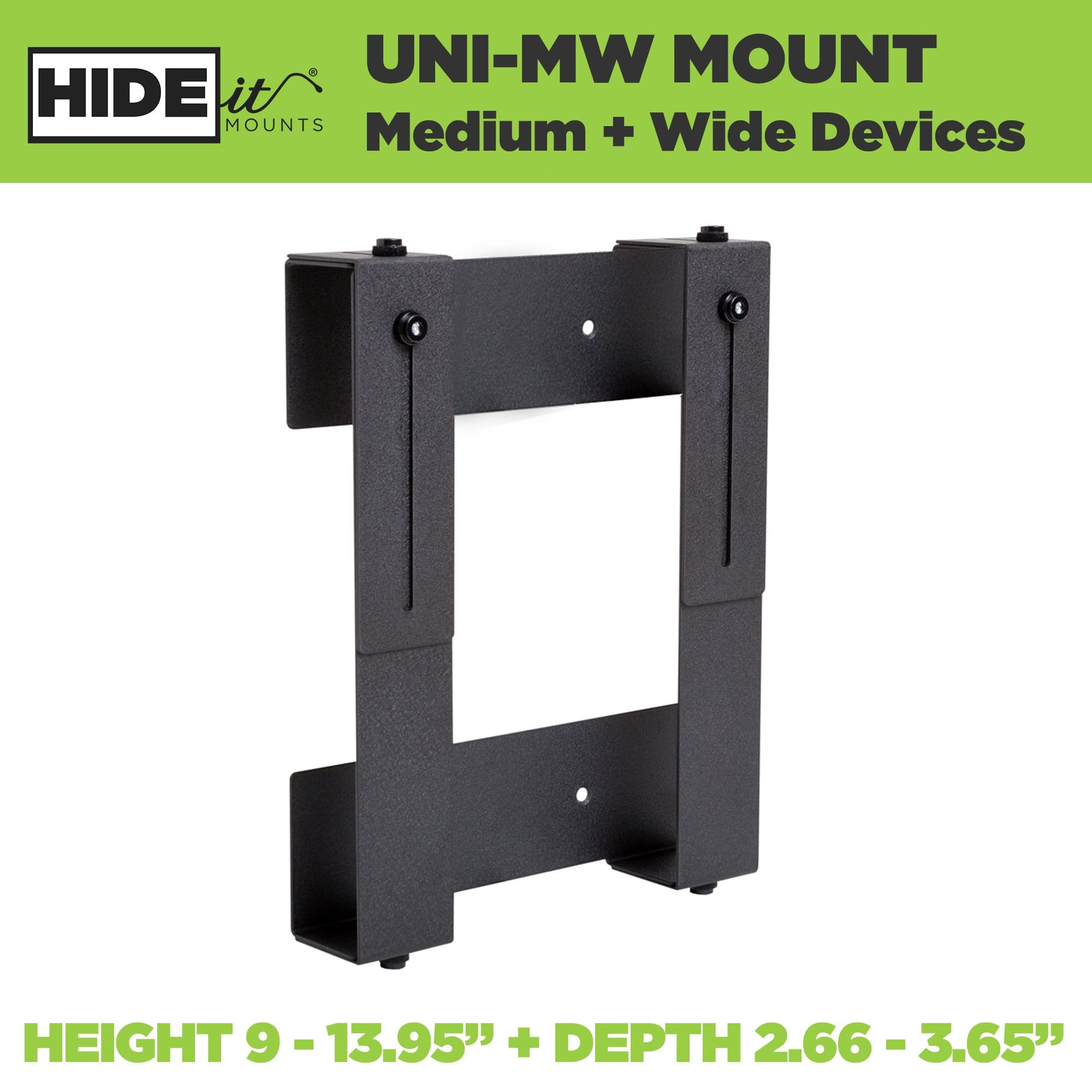 Steel adjustable wall mount for medium + wide-sized electronic devices, made by HIDEit Mounts.
