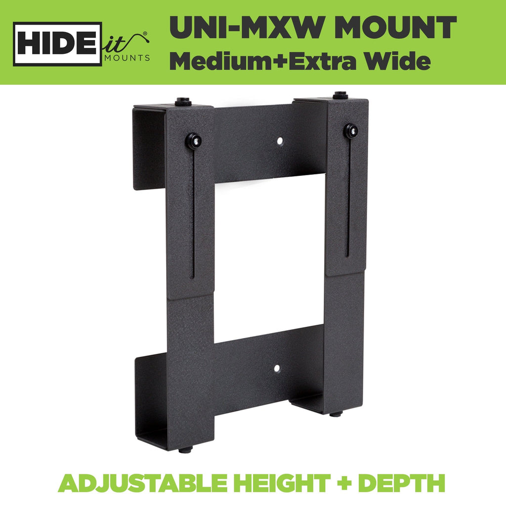 Steel adjustable wall mount for medium extra wide electronic devices, made by HIDEit Mounts.
