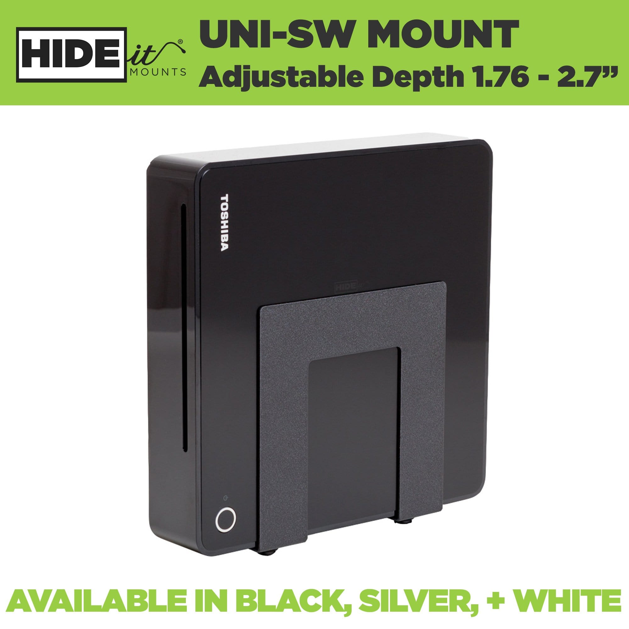 HIDEit Uni-SW adjustable wall hanging mount in black, silver, and white.