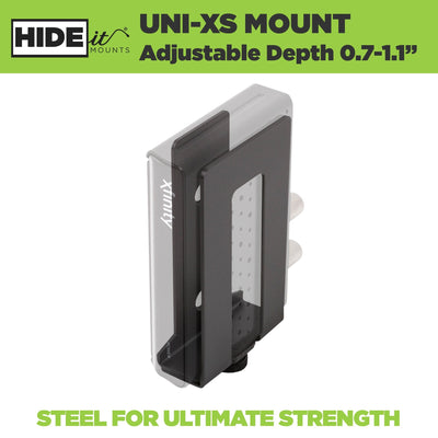 Adjustable steel HIDEit Uni-XS Mount holds extra small electronics and can be wall or VESA mounted.