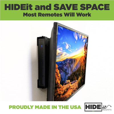 HIDEit and save space. Most remotes will work. A cable box is mounted behind a TV.