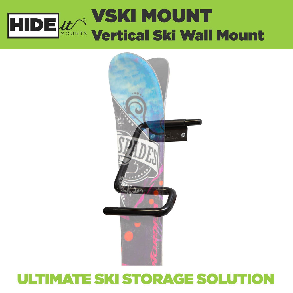 Pair of greyed out skis mounted in the HIDEit Vertical Ski Wall Mount. Ultimate ski storage solution - perfect for garage storage.