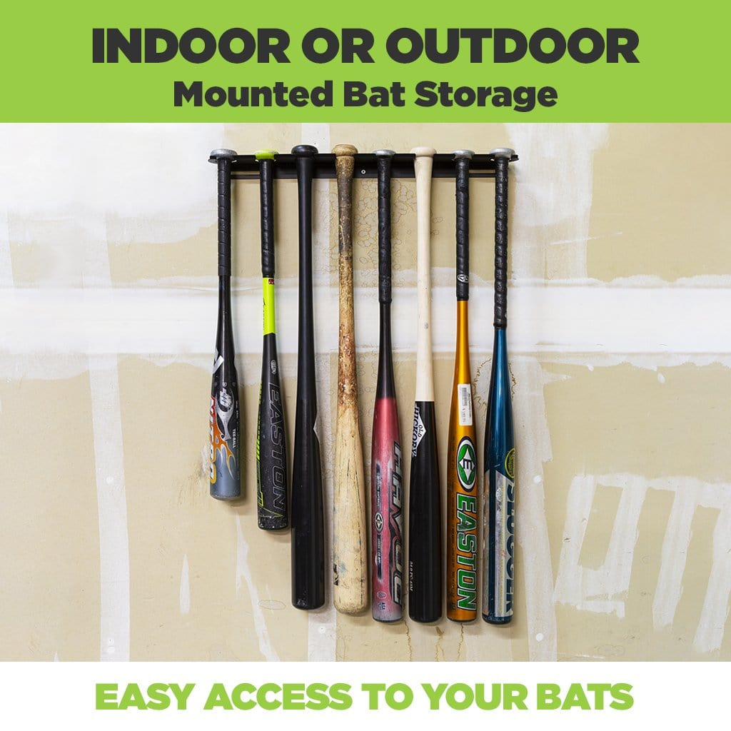 Vertical baseball bat wall mount made from steel with eight bats securely mounted to it on an unpainted wall.