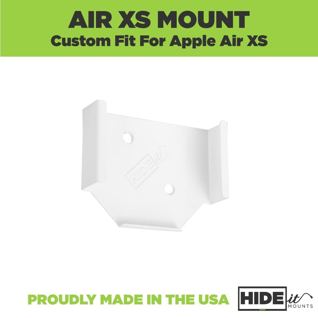 AirPort Express wall mount made by HIDEit Mounts from powder-coated steel.