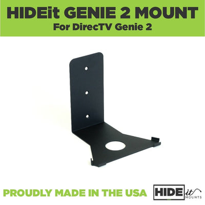 Black, steel HIDEit Genie Mount, designed to wall mount the DirecTV Genie 2.