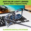 HIDEit Mounts blue light blocking glasses with clear lenses for all day use on computers.