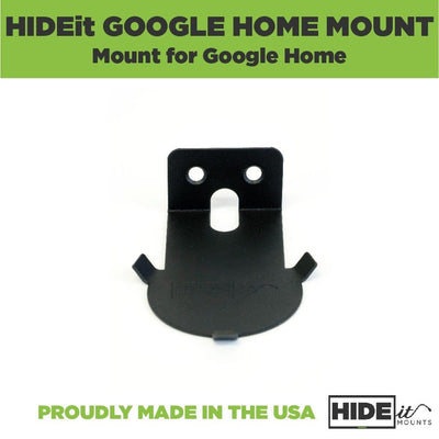 Black HIDEit Home Wall Mount made to securely hold the Google Home in place.