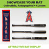 Three baseball bats wall mounted in a horizontal bat rack by HIDEit Mounts.