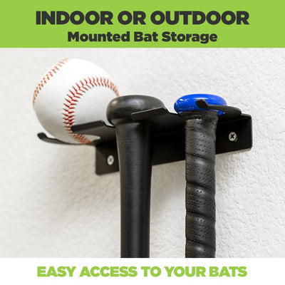 Mounted Adult Bats and Youth Bat along with baseball in a HIDEit SPORTS Triple Bat Mount for indoor or outdoor mounting.