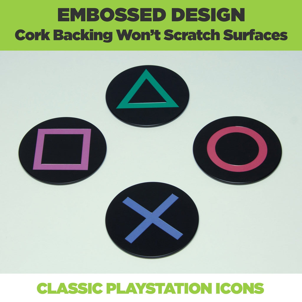 PlayStation Controller Coasters are made from metal with a cork backing to prevent scratching desks, tables and bars.