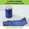 Galaxy in a jar shown with included constellation map. 3 different light modes, perfect for game room decor.