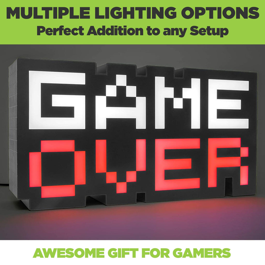 Game Over Light in 8-bit font has multiple lighting options. Light is color-phasing from red, blue, purple, and green.