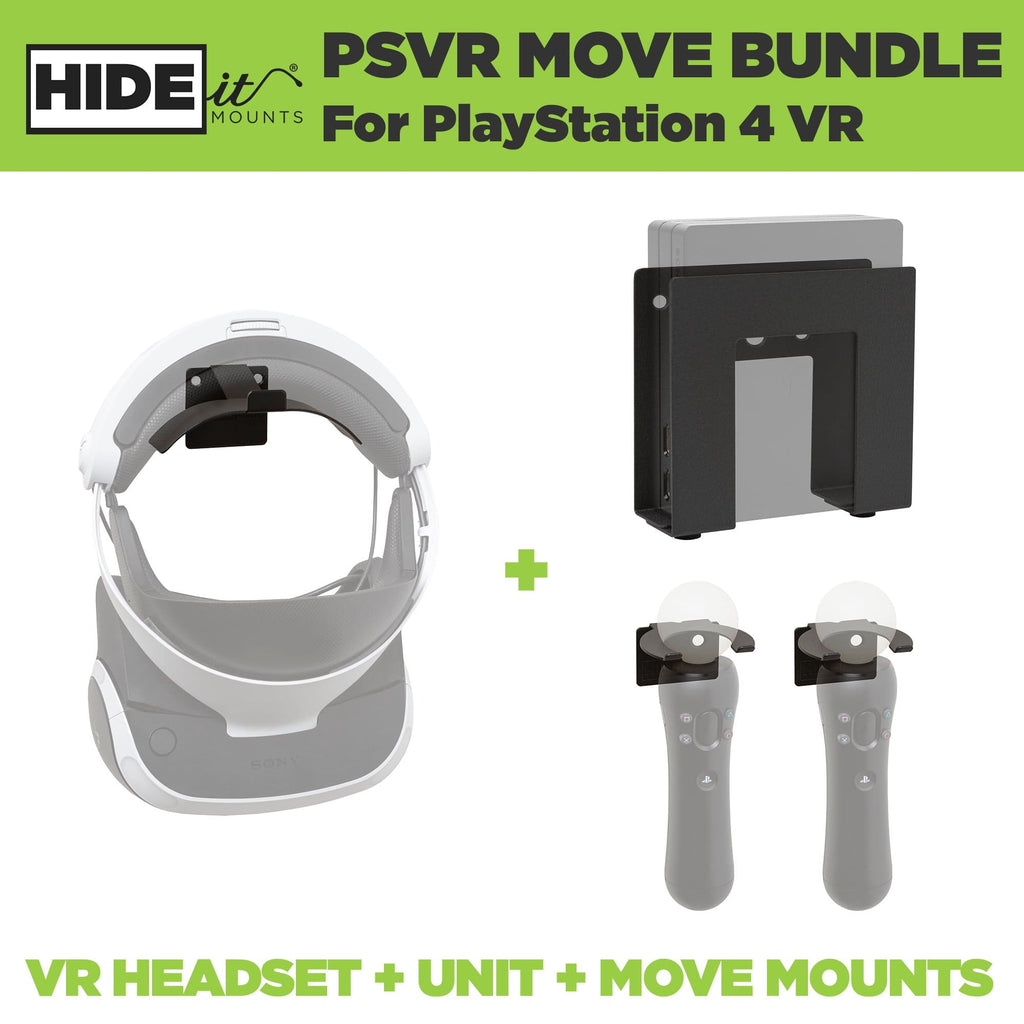 HIDEit Mounts for PSVR headset, PSVR Processor and PlayStation Move Controllers.