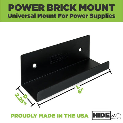 Universal power brick mount made to wall mount most common power bricks, including Xbox and Wii.