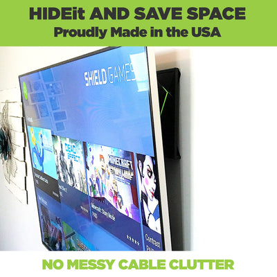 NVIDIA Shield TV wall mounted behind the TV in the HIDEit NVIDIA Shield Wall Mount