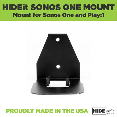 HIDEit Sonos One Wall Mount designed for the Sonos One Smart Speaker and Play:1 Speaker; made from steel.
