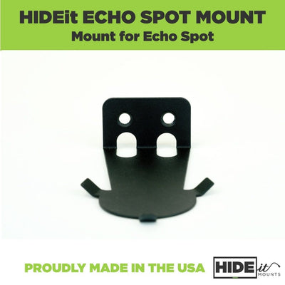 Black, steel HIDEit Mounts wall mount for Amazon Spot.