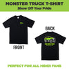 Black unisex t-shirt with monster truck on the back and HIDEit Mounts logo on the front. Designed by HIDEit Mounts.
