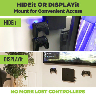 PlayStation controllers mounted, using the HIDEit Mount Uni-C, behind the TV on the wall and next to the TV.