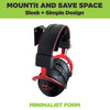 Steel HIDEit Uni-H Mount displaying headphones and headsets to save space.