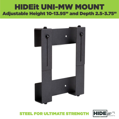 "HIDEit Uni-MW Mount. Adjustable height 10-13.95"" and depth 2.5-3.75"" A mount for a cable box"