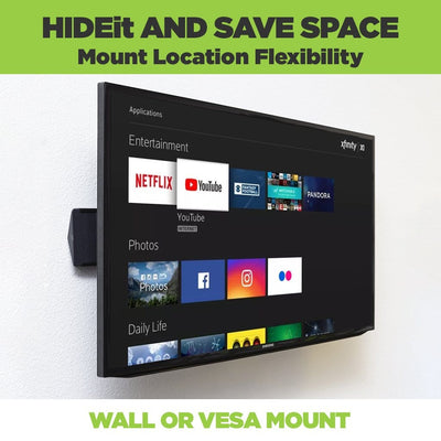 Xi6 Comcast box hidden behind a TV using a HIDEit Mount, can be wall or VESA mounted.