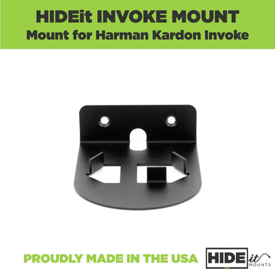 Empty black steel wall mount for the Harmon Kardon Invoke designed by HIDEit Mounts.