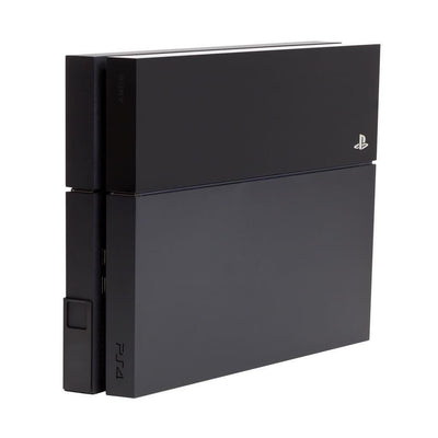 Black PS4 in steel HIDEit Mount designed to securely wall mount Playstation consoles.