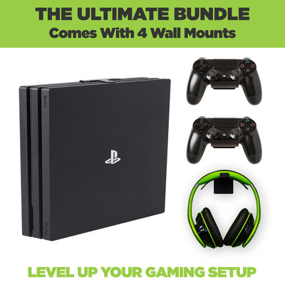 The ultimate PS4 Pro Wall Mount Bundle. Comes with HIDEit PS4 Pro Wall Mount, 2 PlayStation Controller Mounts and 1 headset wall mount.