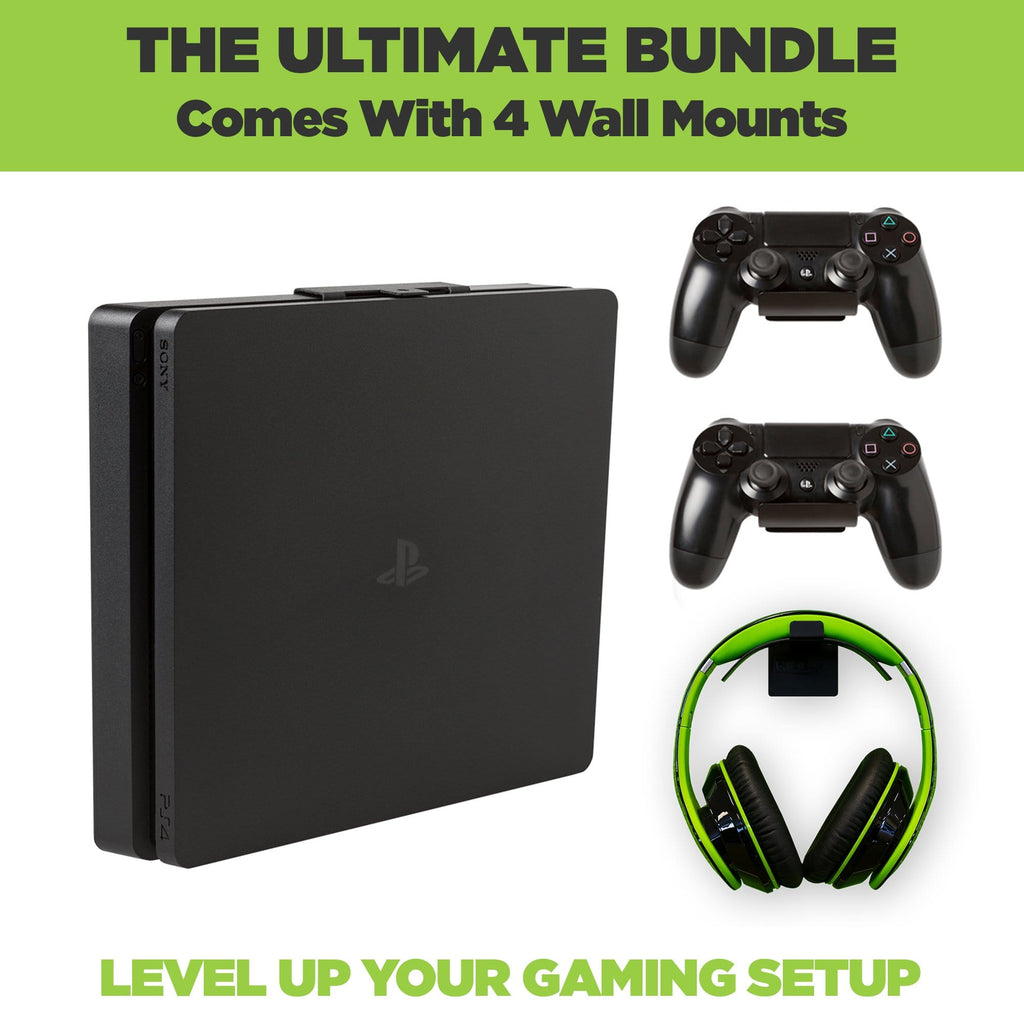 The ultimate PS4 Slim Wall Mount Bundle. Comes with HIDEit PS4 Slim Wall Mount, 2 PlayStation Controller Mounts and 1 headset wall mount.