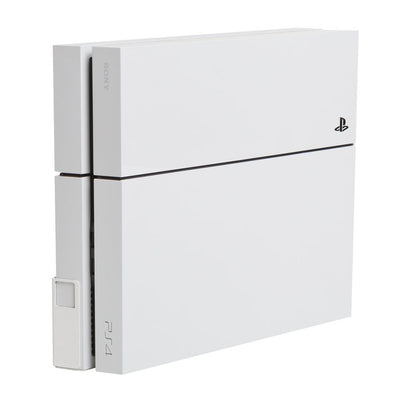 White Original Playstation 4 Console mounted in white steel HIDEit 4 Wall Mount.
