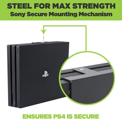 Steel playstation 4 pro wall mount securely holding PlayStation 4 Pro.