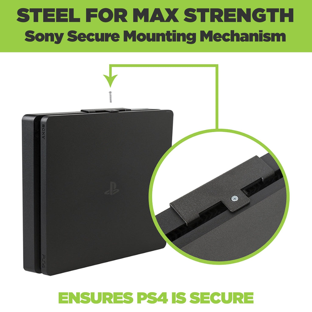 HIDEit wall mount for PS4 Slim, made from steel, allows easy access to ports.