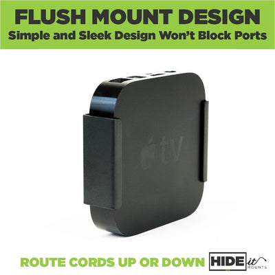 Apple TV 3rd Gen securely mounted by HIDEit Mounts ATV3 wall mount with flush design.