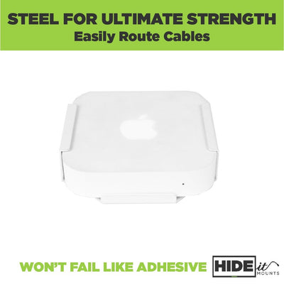 Apple AirPort Express Wi-Fi Router securely held in steel HIDEit Air-XS wall mount for ultimate protection.